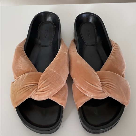 CHLOE Criss Cross Velvet Slides Sandals 39/9